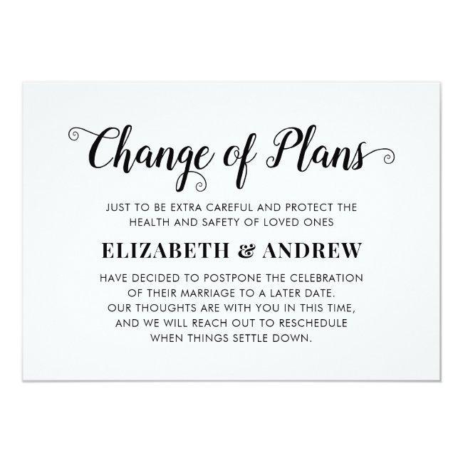 Change Of Plans Postponed Wedding Modern Script Announcement