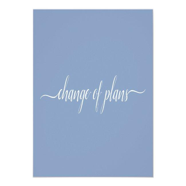 Change Of Plans Wedding Cancelled Postponed Blue Announcement Postcard