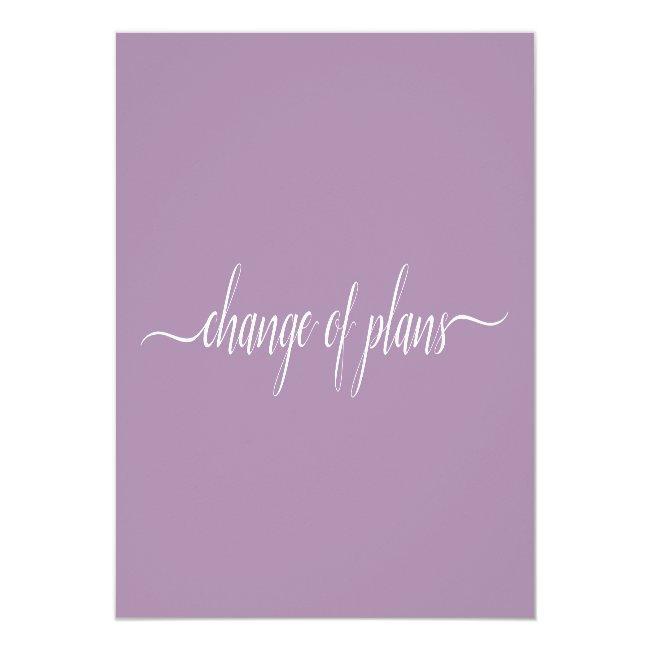 Change Of Plans Wedding Cancelled Postponed Purple Announcement Postcard