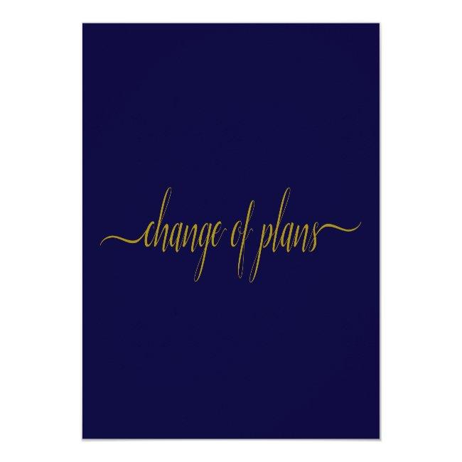 Change Of Plans Wedding Postponed Gold On Navy Announcement Postcard
