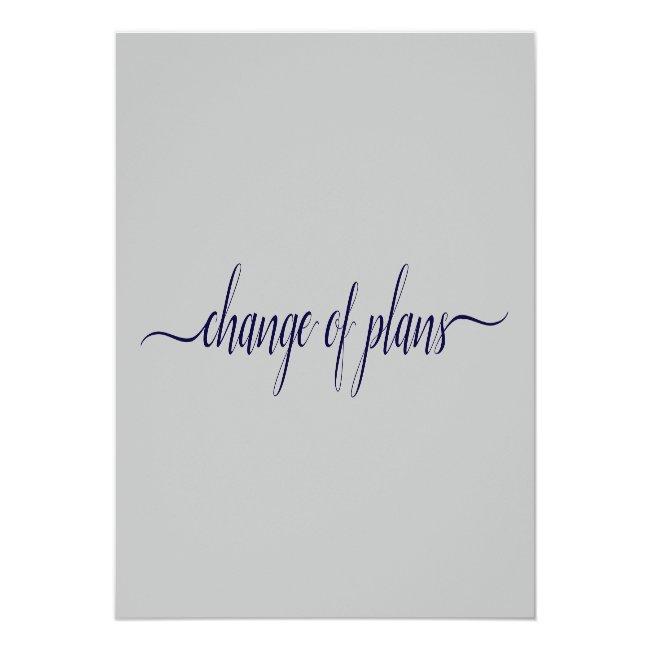 Change Of Plans Wedding Postponed Navy Blue & Gray Announcement Postcard