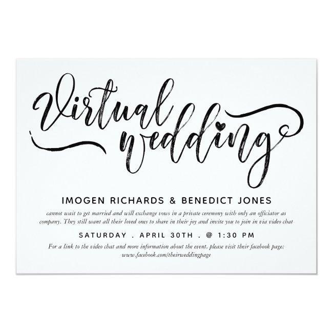 Charming Heart Brush Script Virtual Wedding Invitation