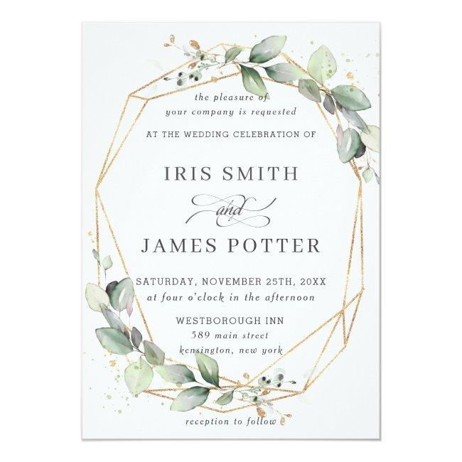 Chic Greenery Leafy Foliage Wedding Geometric Invitation