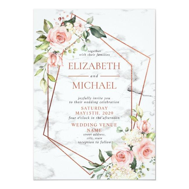 Copper Geometric Marble Pink Floral Wedding Invitation
