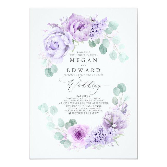 Dusty Purple Floral Elegant Boho Wedding Invitation