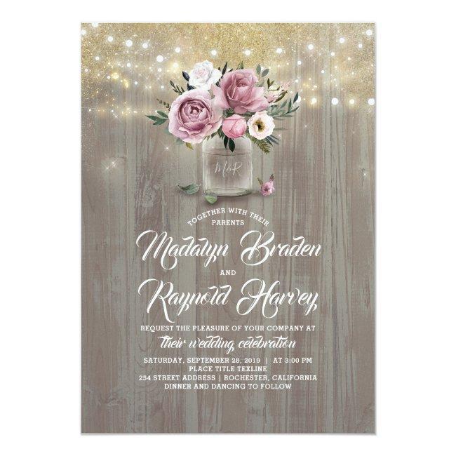 Dusty Rose Floral Mason Jar Rustic Wedding Invitation