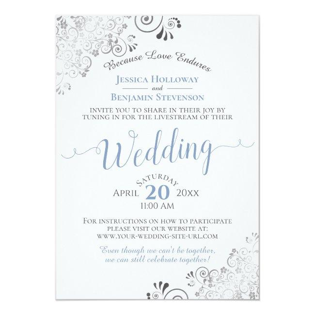 Elegant Blue & Gray On White Wedding Livestream Invitation