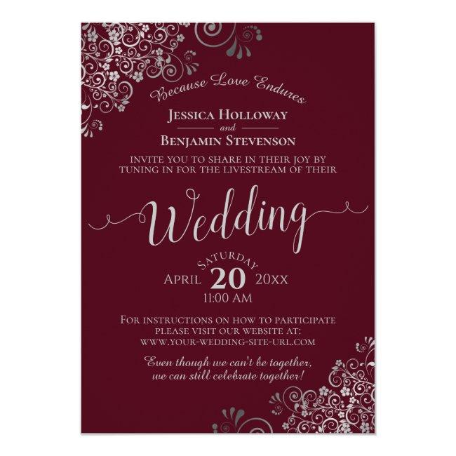 Elegant Burgundy And Silver Wedding Livestream Invitation