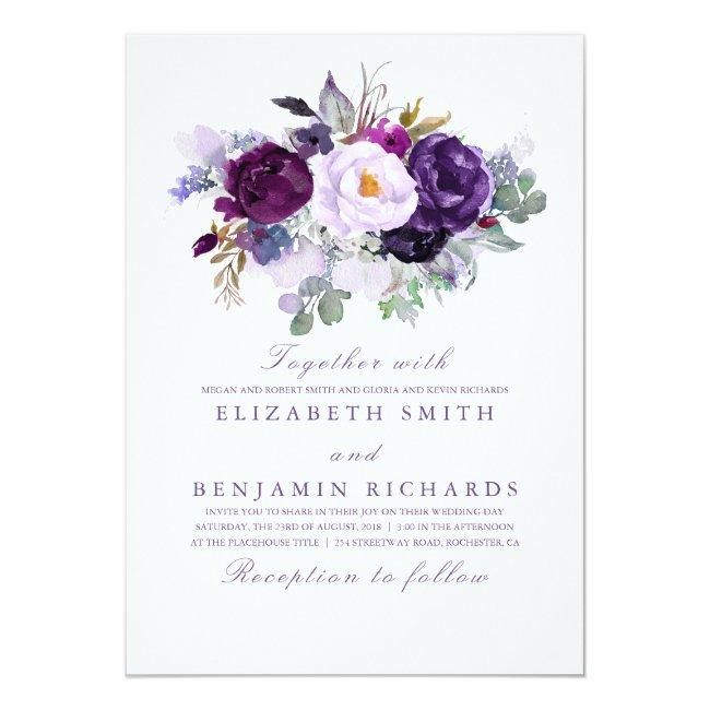 Elegant Floral   Purple Watercolors Wedding Invitation