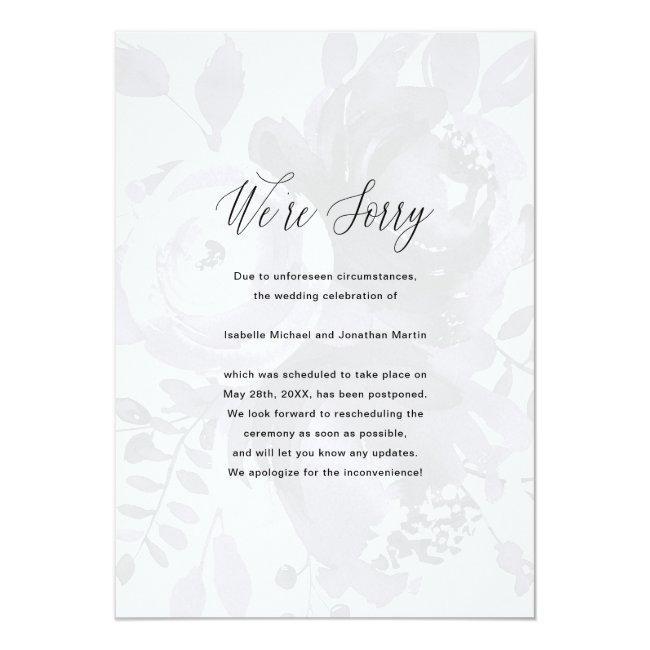 Elegant Floral Wedding Postponement Photo Announcement