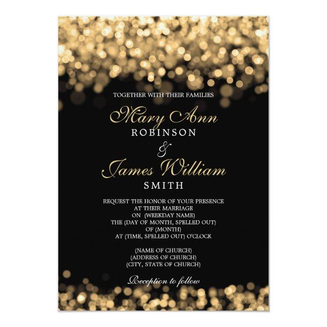 Elegant Gold Lights Wedding Invitation
