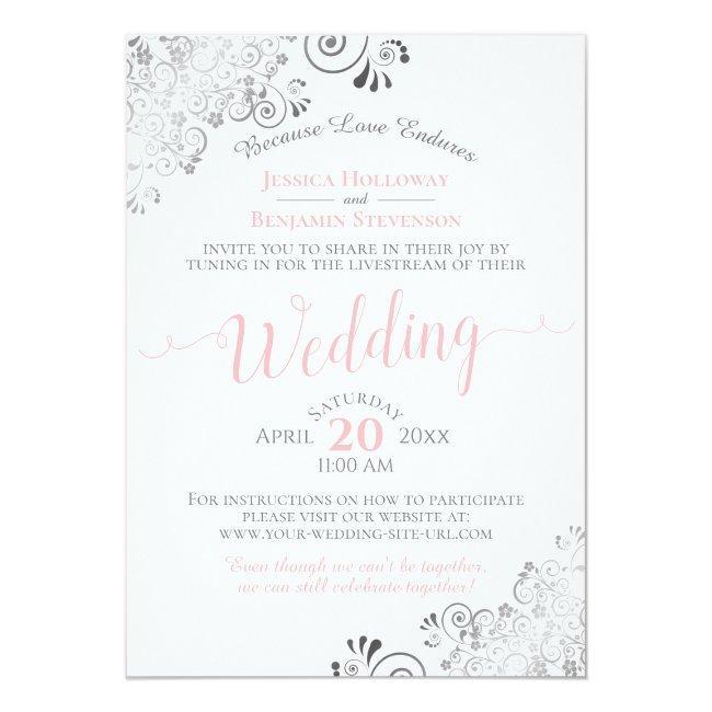 Elegant Pink & Gray Virtual Wedding Livestream Invitation