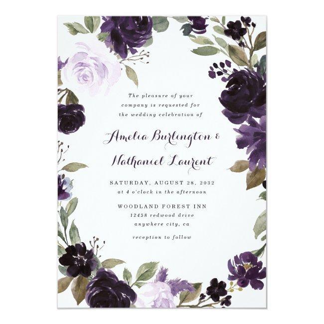 Elegant Purple And Gold Green Leaf Floral Wedding Invitation