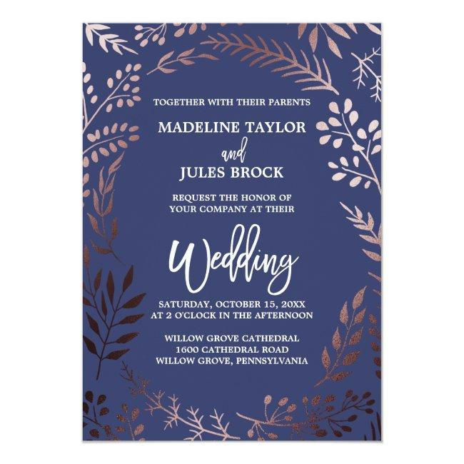 Elegant Rose Gold And Navy | Leafy Frame Wedding Invitation