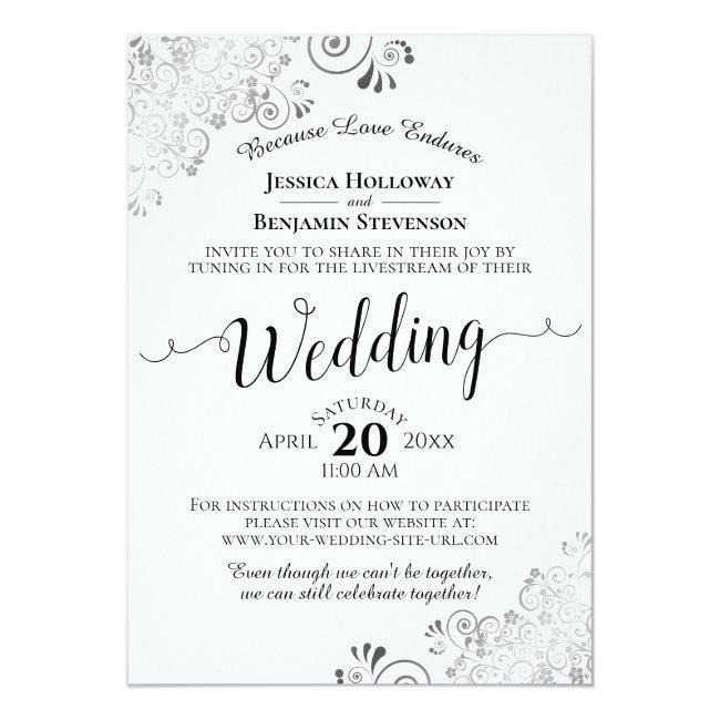 Elegant Silver, Black & White Wedding Livestream Invitation