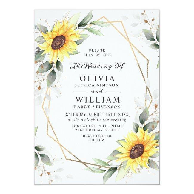 Elegant Sunflowers Watercolor Greenery Wedding Invitation
