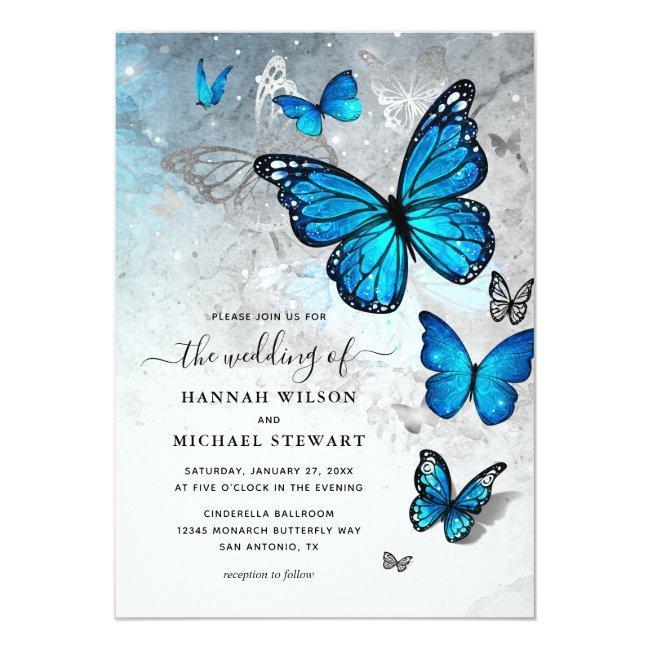 Elegant Watercolor Silver Blue Butterfly Wedding Invitation