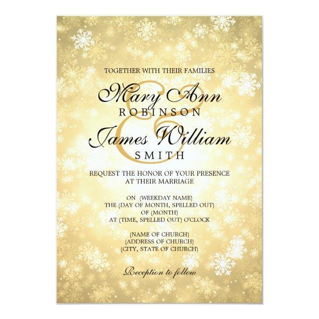 Elegant Wedding Winter Wonderland Sparkle Gold Invitation