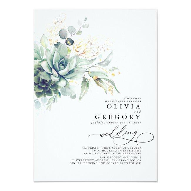 Eucalyptus Greenery Succulents And Gold Wedding