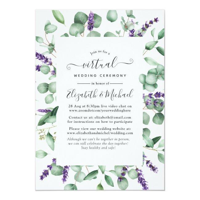 Eucalyptus Lavender Greenery Virtual Wedding Invitation