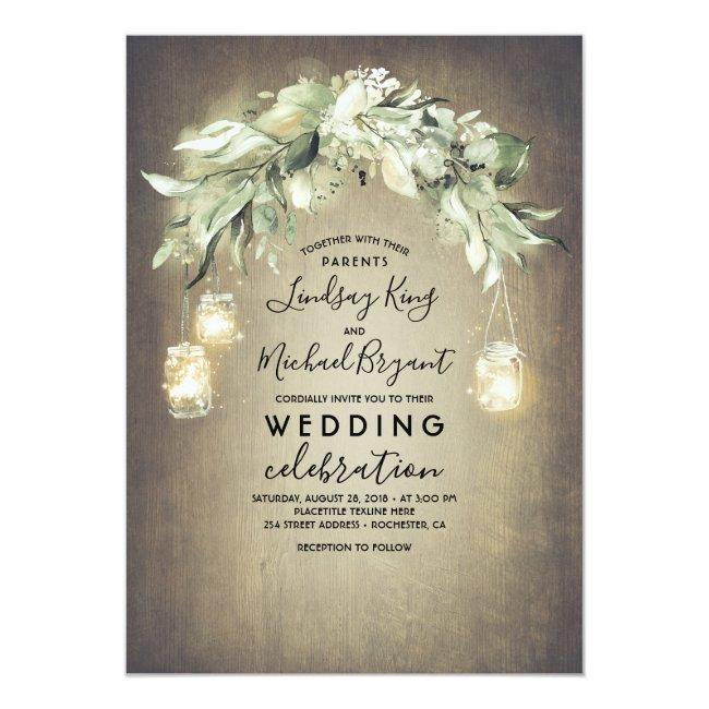 Eucalyptus Leaves Greenery Rustic Country Wedding Invitation