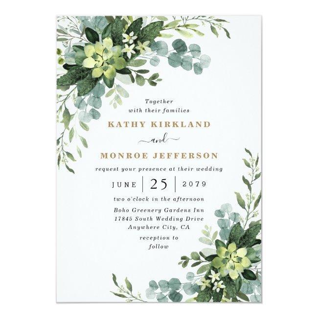 Eucalyptus Succulent Elegant Boho Greenery Wedding Invitation