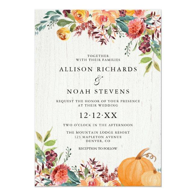 Fall Floral And Pumpkins Watercolor Wedding Invitation