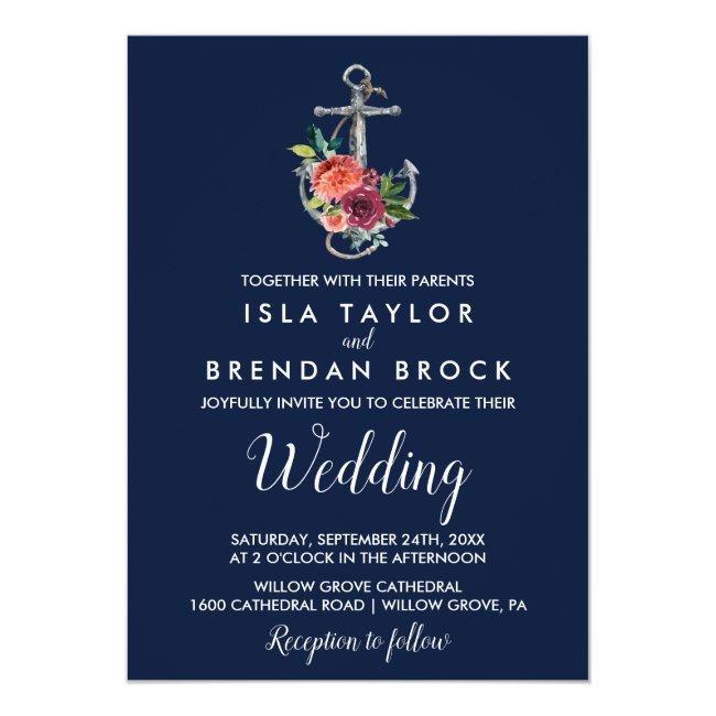 Floral Anchor | Navy Autumn Wedding Invitation