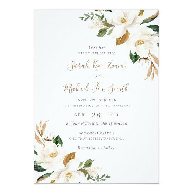 Floral Elegant Magnolia Beige Neutral Wedding Invitation