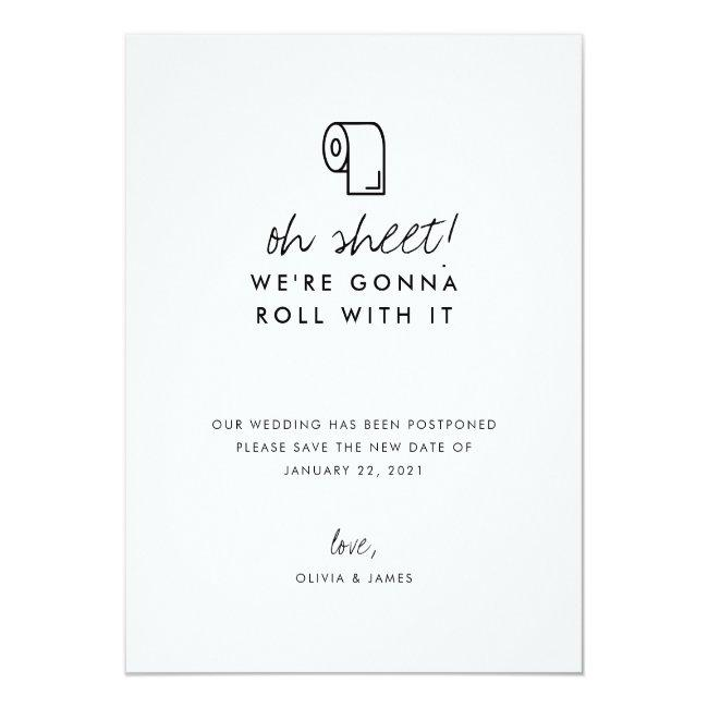 Funny Roll With It New Date Wedding Postponement Announcement Postcard