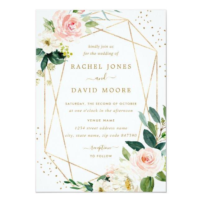 Geometric Blush Gold Floral Wedding Invitation