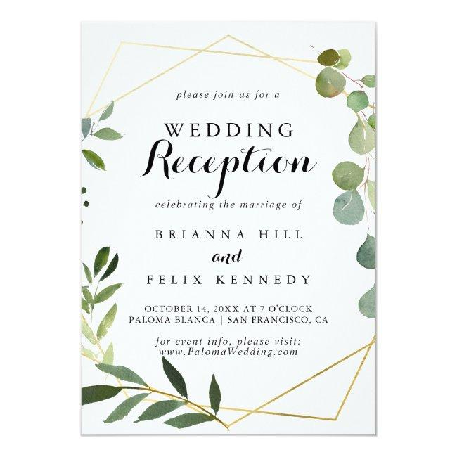 Geometric Gold Tropical Green Wedding Reception Invitation
