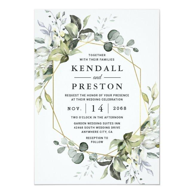 Geometric Greenery Modern Gold Succulent Wedding Invitation