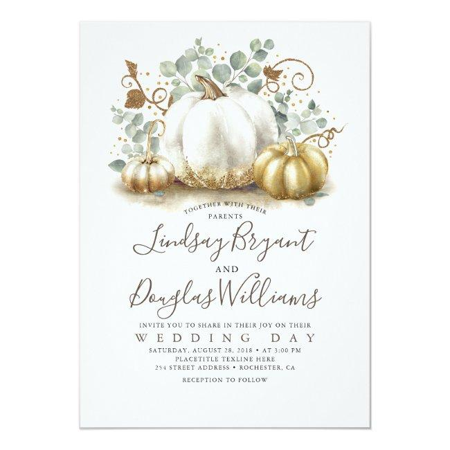 Gold And White Pumpkins Rustic Modern Fall Wedding Invitation