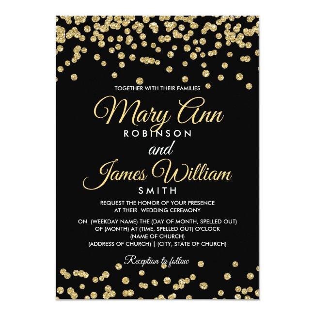 Gold Faux Glitter Confetti Elegant Wedding Black Invitation