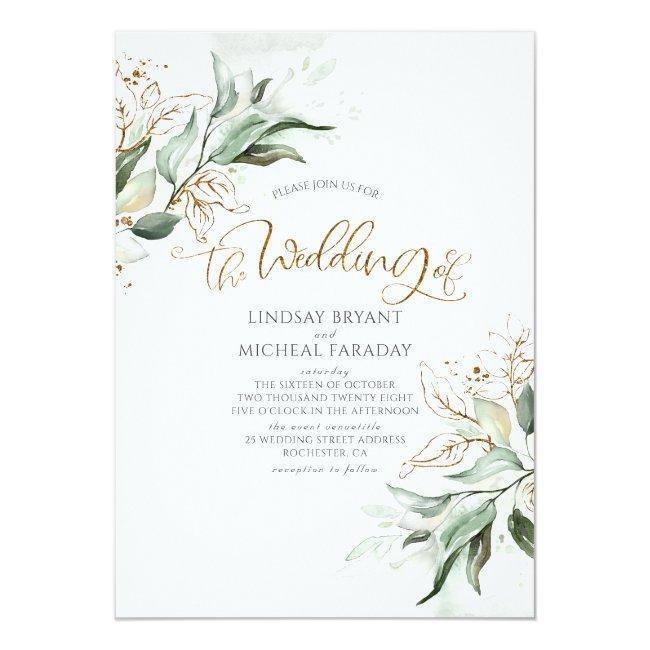 Gold Glitter Eucalyptus Greenery Elegant Wedding