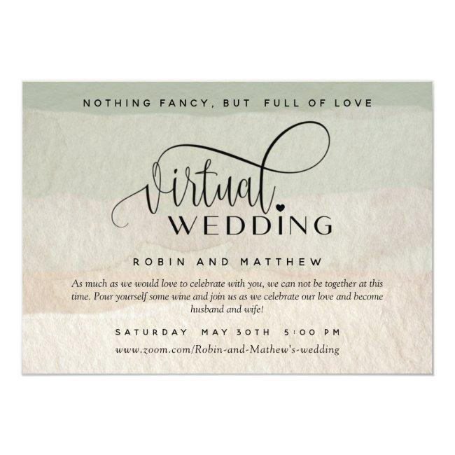 Green And Tan Watercolor, Online Virtual Wedding Invitation