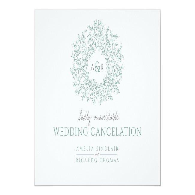 Green Hand Drawn Leaf Monogram Wedding Cancelation Announcement Postcard