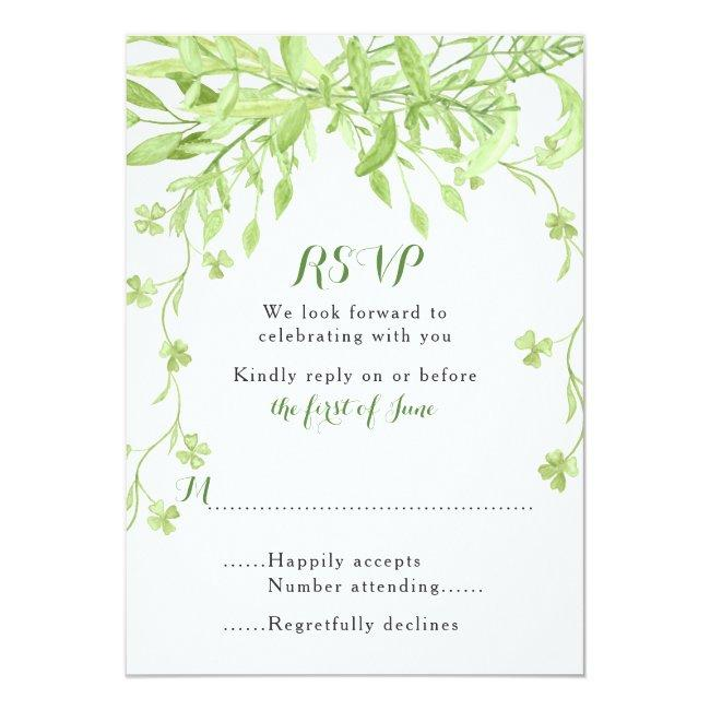 Greenery Clover Floral Wedding Rsvp Card