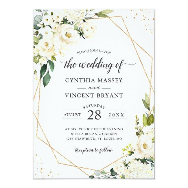 Greenery White Floral Gold Geometric Wedding Invitation
