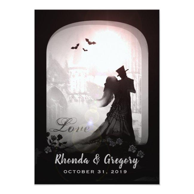 Halloween Elegant Love Silhouette Together With Invitation