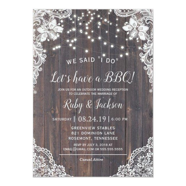 I Do Bbq Rustic Lace & String Lights Reception Invitation