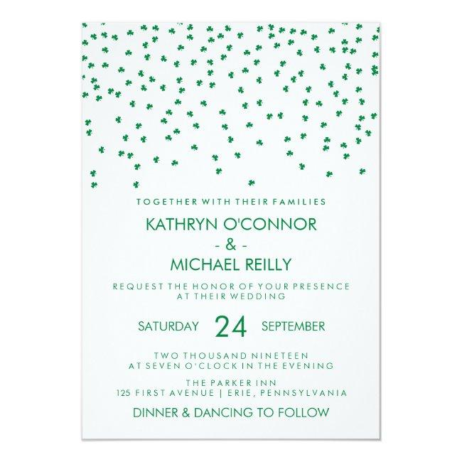 Irish Theme Wedding Shamrock Confetti On White Invitation