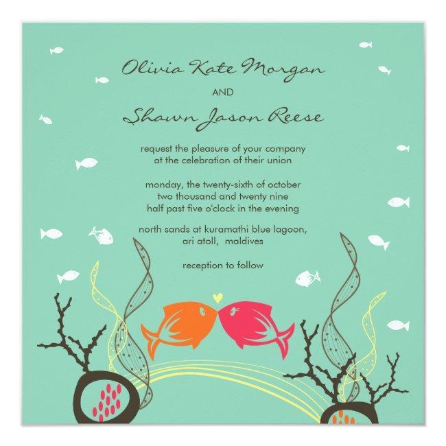 Kissing Fishes Corals Beach Whimsical Cute Wedding Invitation