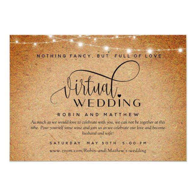 Kraft Paper And Lights, Online Virtual Wedding Invitation