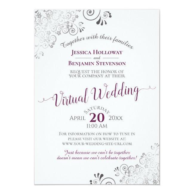 Lacy Silver Cassis Purple & White Virtual Wedding Invitation