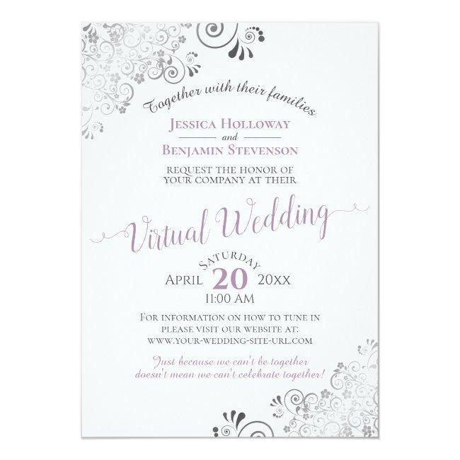 Lacy Silver Lavender & White Virtual Wedding Invitation