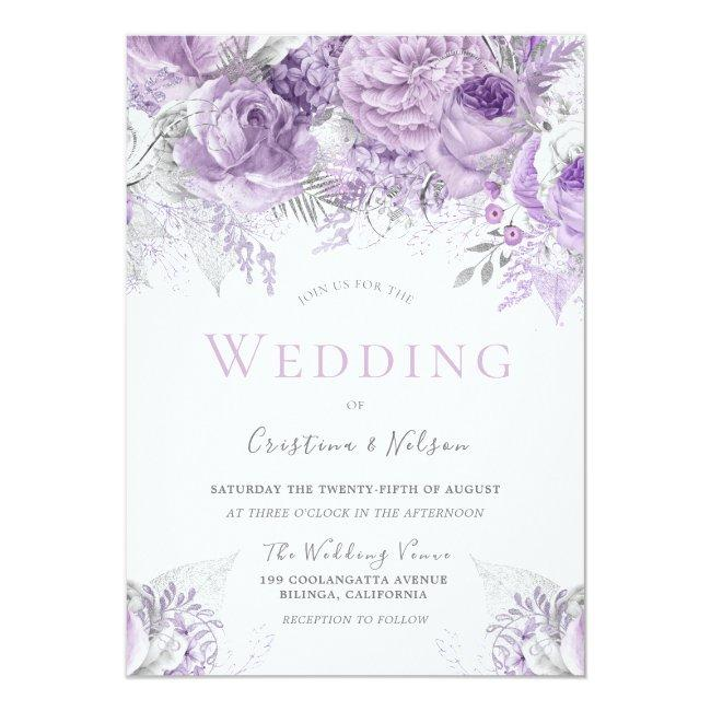 Lavender Purple Silver Floral Wedding Invitation