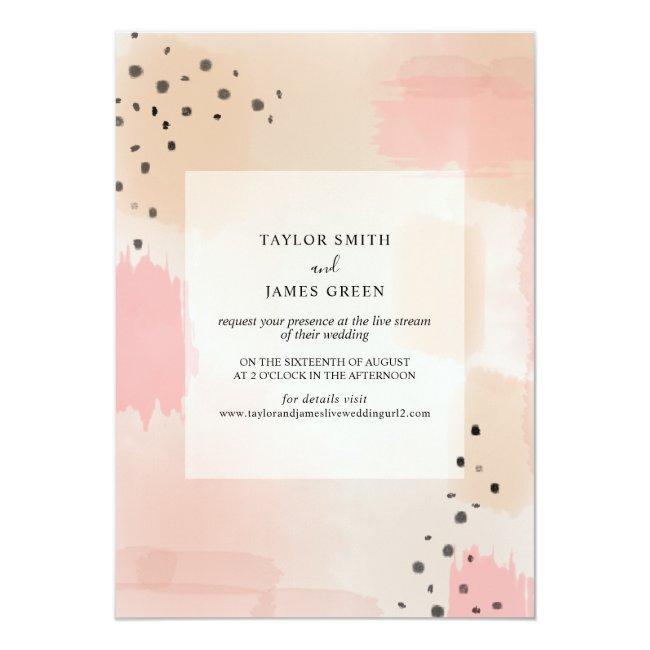 Live Stream Virtual Wedding Abstract Pink Invitation