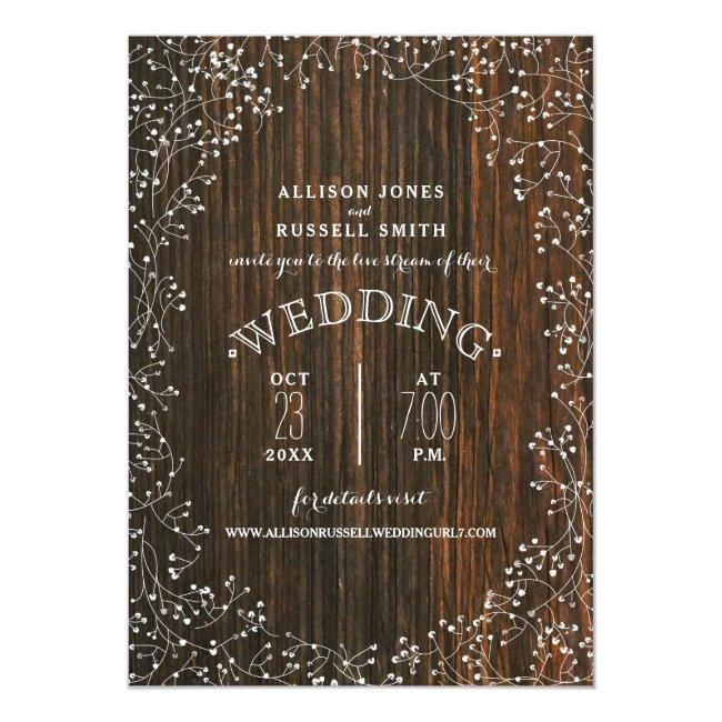 Live Stream Virtual Wedding Barnwood Baby's Breath Invitation